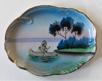 Antique Porcelain Dish, Small Decorative Dish, Hand Painted, Old Trinket Dish, Oval Dish, Indian In Canoe, Gold Rimmed, Made In Japan