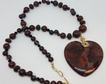 Bredicated Jasper Necklace with Heart focal pendant