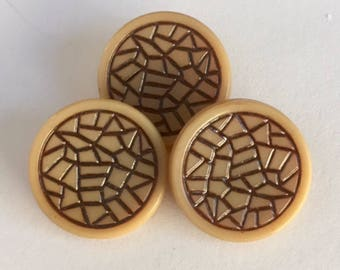 Vintage Czech Glass Buttons - Beige with Brown Lines