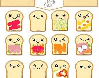 ON SALE Bread Clip  Art // Toast Clip Art. Kawaii Bread Clip Art,Bread with face Clipart,Breakfast,scrapbooking,print