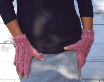 Wool fingerless gloves pink heather cable knit gloves gift for her womans gift Fall Thanksgiving Christmas gift for her womens gloves mitts