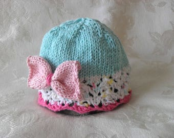 Baby Hats Knitting Knit Baby Cloche Knitted Lace Baby Hat Baby Hat with Bow Cotton Knit Children Clothing