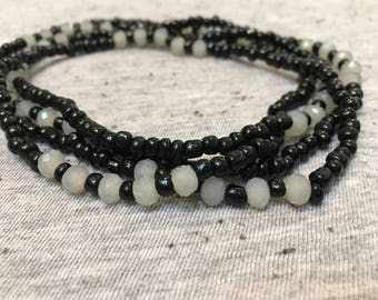 Long Beaded Necklace, Boho Necklace, Black and Gray Necklace, Unique Jewelry, Handmade, Womens Jewelry, Gifts for Her, Beaded Necklace