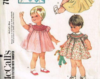 60s Toddlers Smocked Dress McCall's 7842 Size 2 Classic Toddler Dress With Collar Puff Sleeves Baby Girls Dress Bonus Extra Smocking Dots