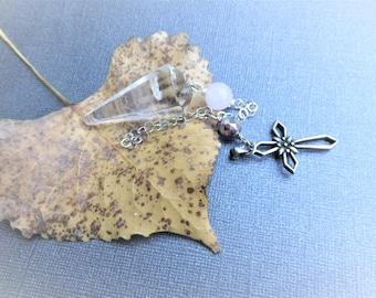 Clear Quartz Pendulum, Rose Quartz & Art Deco AB Beads, Sterling Chain, Vintage Sterling Native American Cross Pendant