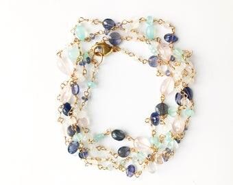 Long Gem Necklace, Long Gemstone Necklace, Gemstone Jewelry, Long Gold Necklace, Colorful Necklace, Long Colorful Necklace, Colorful Jewelry