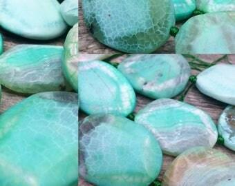 One Hand Selected Chrysoprase Sea Foam Green Semi Precious Focal Bead, 40 mm