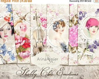 SALE - 30%OFF - BOOKMARKS Shabby chic Emotions - Hang Tags - Collage Digital Sheet - Scrapbooking Supplies - Digital Cards - Collage Tags -