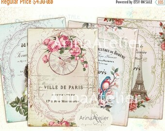 SALE - 30%OFF - I love Paris - Digital Atc Cards - Digital Collage - Collage Cards - Shabby chic Collage Tags - Digital Tags - Digital Downl