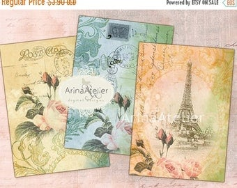 SALE - 30%OFF - Vintage Roses in Paris - 2,5x3,5 cards - set of 8 - Tags - JEWELRY Holders - Digital Collage Sheet Printable jpg Download Gi