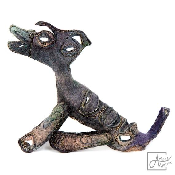 Felt Animal Sculpture - 3 dimensional fiber art Dog - Movable textile sculpture - Unique art work for collectors - Paris made art