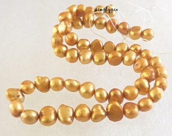 Golden Freshwater Pearl Potato Beads Full Strand