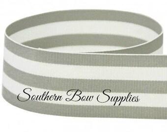1.5 inch Grosgrain Ribbon---3 Yards---Stripes---Gray & White---Hair bow Making Supplies