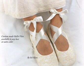 Custom Ballet Flats,Champagne Flats,Wedding Flats,Ballet Slippers,Lace Ballet Flats,Flower Girl Shoes,Elegant Wedding,Vintage Style Flats