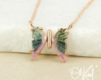 Blue Green & Pink Tourmaline Butterfly Necklace - Watermelon Tourmaline - One of a Kind