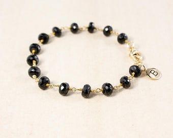 ON SALE Black Onyx Bracelet – Add Your Initial Charm