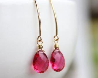 ON SALE Gold Red Ruby Quartz Gemstone Earrings - Hook Earrings - Wire Wrapped