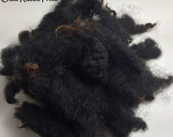 Black Beauty Washed/Separated Wool Locks for Primitive Doll Hair-1 full oz-Gorgeous Black w/ Sunkissed Brown Tips-Primitive Wool Doll Hair