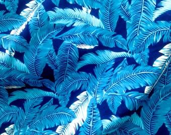 "Quilt Half Yard Cotton Fabric 18x44"" Amazon Tropical Palm Leaf Blue Tone"