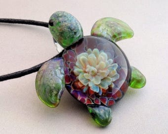 Turtle - Hand Blown Glass Sea Turtle Pendant Color Burst Back Lampwork Focal Bead, Your Choice of Necklace Free (T7197C)