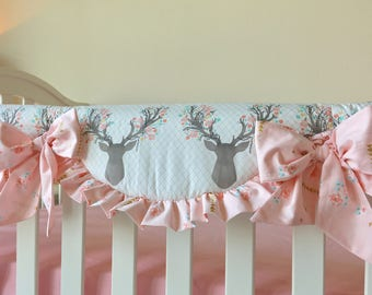 girly stag crib rail covers pink floral crib rail cover baby pink rail