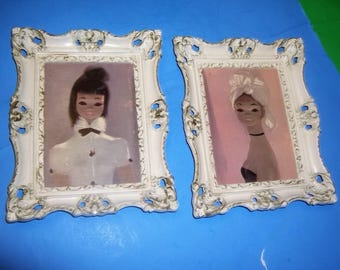 Victorian White Distressed Wooden Frames French Girls