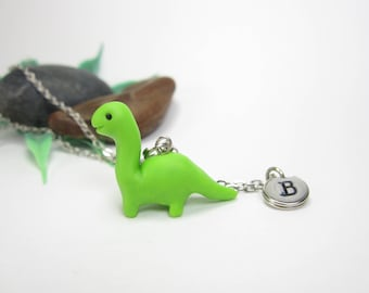 Dinosaur necklace, Initial necklace, personalized necklace, dinosaur jewelry, cute unique gift, animal dinosaur gift, cute dino necklace
