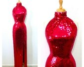 Vintage Sequin Maxi dress Halter Maroon Prom Evening Hollywood Glamour gown Nite Line