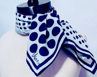 Vintage Vera Neumann Polka Dot Scarf Navy Blue