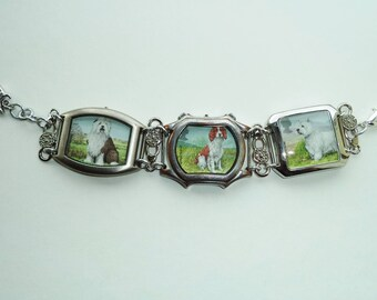 OOAK dog lover gift, watch cases jewelry, postage stamps bracelet, eco gift, Spaniel owner, Scottie Dog owner, Westie owner, stamp collector