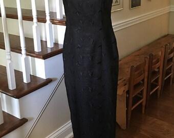1994 Liz Claiborne Embroidered Black Linen Dress
