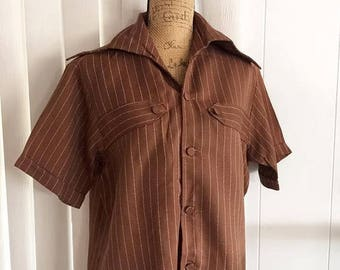 Memorial Day Sale 25% OFF Sale Vintage Guy's Hip 1960's Era Button Loop Shirt in Brown and White Stripe - Size M