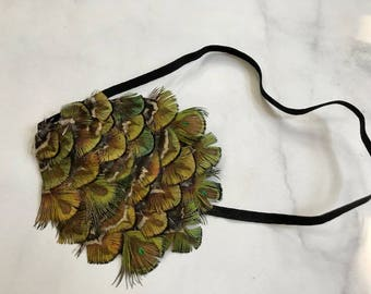 SALE! Olive Green Peacock Feather Headband// 1920's Headpiece Handmade with Comfortable Black Band//Brown & Yellow Accent