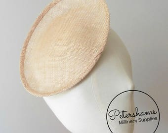 Oval Scallop Sinamay Fascinator Hat Base for Millinery & Hat Making - Latte Brown