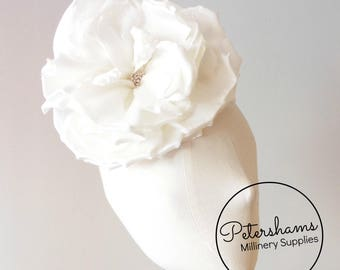 Silk 'Lucinda' Extra Large 20cm Rose Millinery Fascinator Flower Hat Mount - Off White