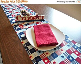 Christmas in July Sale Fourth of July Table Runner Patriotic Americana Western Rustic Stars Stripes Red White Blue Navy Reversible Picnic Bu