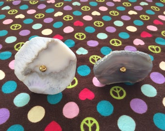 Pair of Beautiful Gray Agate Drawer Pulls/Knobs