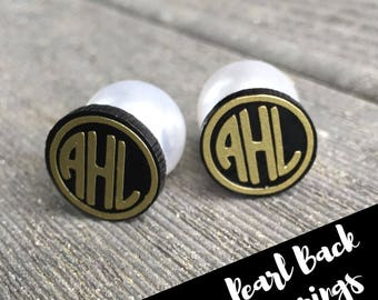 Pearl Back Monogrammed  Earrings- with your initials