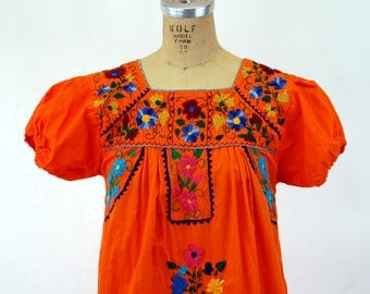 Mexican dress embroidered orange long dress ethnic floral Size M