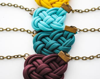 Celtic Knot Necklace - Corded Celtic Knot Necklace, Irish Necklace, Turquoise, Mustard, Plum, Gray, White, Teal