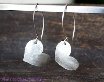 Hammered Heart Earrings, Silver Heart Earrings, Rustic Silver Heart Earrings
