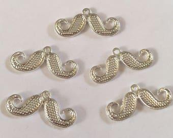 Set of 5 Tibetan silver moustache charms