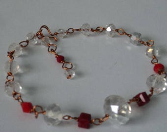 OOAK Red &  Light-Colored Crystals Adjustable Bracelet Wire-Wrapped