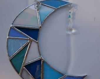 Stained Glass Moon with Prism-handmade-suncatcher-unique gifts-anniversary-wedding-birthday-christmas-home decor-glass art-gifts for her/him