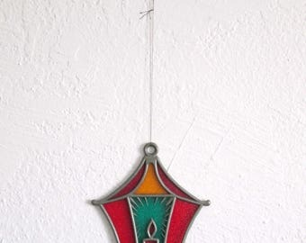 ON SALE Vintage Christmas Candle Lantern Stained Glass Plastic Sun Catcher Ornament