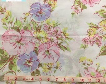 Vintage Twin Flat Sheet with Beautiful Pink and Purple Floral