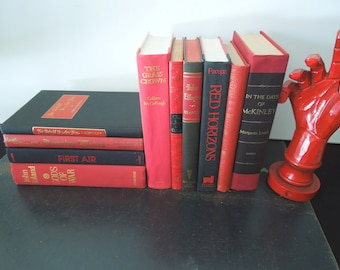 Red Back Books by the Foot - Books for Decor - Bookshelf Display - Foot of Books by Color Vintage Home Staging