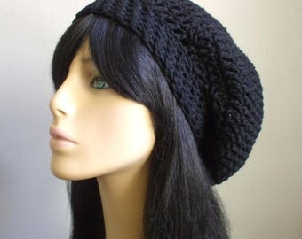 Cute Boho Slouchy Hat // COTTON Midnight Blue Hat // Sexy Hippie Hat // Crochet Women Slouchy Hat // Bohemian Style Hat / Cool Gift Under 25
