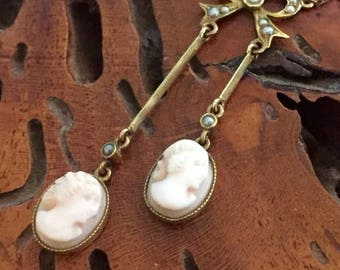 CIJ SALE Christmas JULY Beautiful Victorian Carved Shell Cameo 14kt Gold Pearl Vintage Antique Necklace