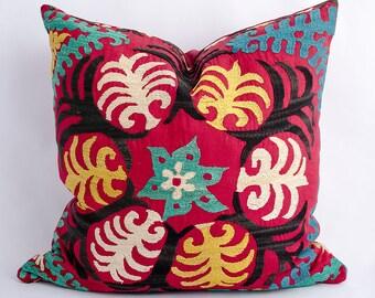 Uzbekistan, Uzbek Suzani pillow cover, made from vintage suzani silk embroidery. pillow, cushion